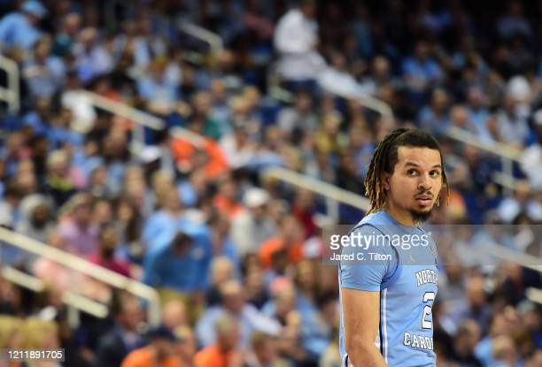 Cole Anthony of the North Carolina Tar Heels looks on during their game against the Syracuse Orange in the second round of the 2020 Men's ACC...