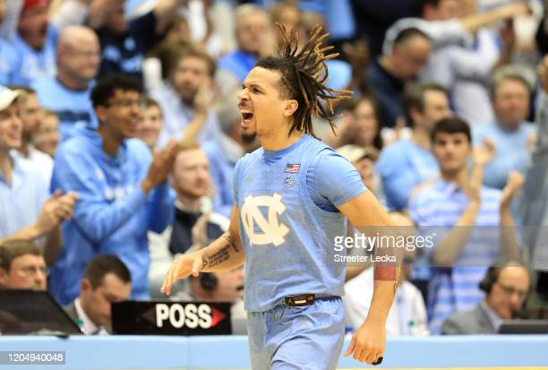 Cole Anthony of the North Carolina Tar Heels reacts after a play against the Duke Blue Devils during their game at Dean Smith Center on February 08,...