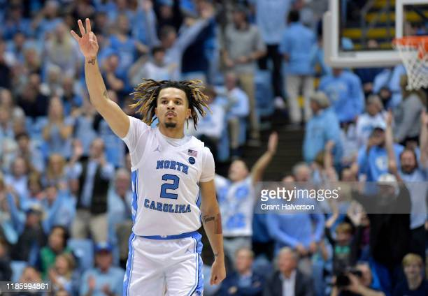 Cole Anthony of the North Carolina Tar Heels reacts after making a three-point basket against the Notre Dame Fighting Irish in the second half at the...
