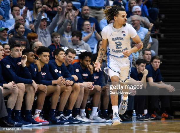 Cole Anthony of the North Carolina Tar Heels reacts after making a three-point basket against the North Carolina Tar Heels during the first half of...