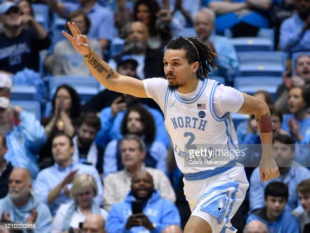 Cole Anthony of the North Carolina Tar Heels reacts after making a three-point basket against the Wake Forest Demon Deacons during the first half of...