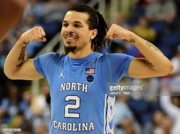 Cole Anthony of the North Carolina Tar Heels reacts following a play against the Virginia Tech Hokies during their game in the first round of the...
