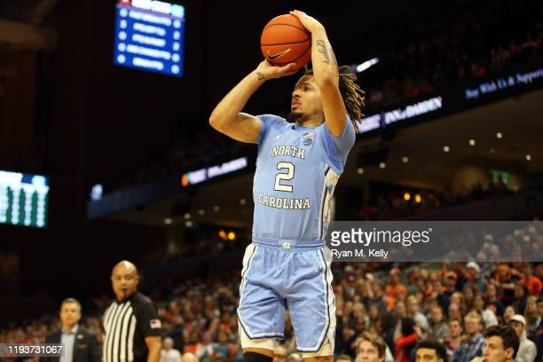 Cole Anthony of the North Carolina Tar Heels shoots in the first half during a game against the Virginia Cavaliers at John Paul Jones Arena on...
