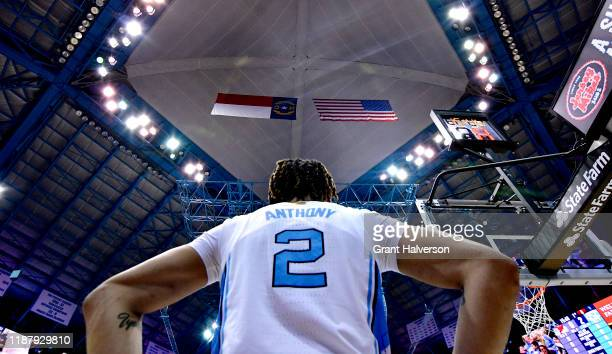 Cole Anthony of the North Carolina Tar Heels waits to inbound the ball during the first half of their game against the Gardner-Webb Runnin Bulldogs...
