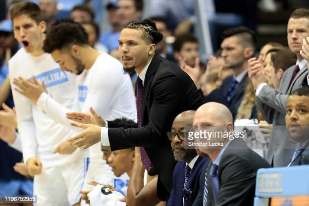 Cole Anthony of the North Carolina Tar Heels watches from the bench against the Yale Bulldogs at Dean Smith Center on December 30, 2019 in Chapel...