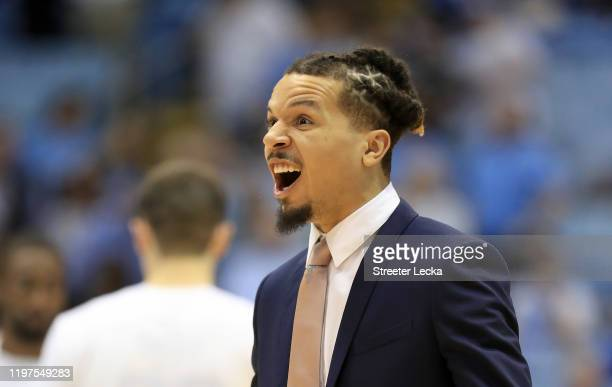 Cole Anthony of the North Carolina Tar Heels watches on before their game against the Georgia Tech Yellow Jackets at Dean Smith Center on January 04,...