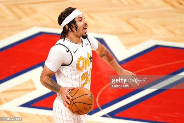 Cole Anthony of the Orlando Magic calls a play during the second half against the Brooklyn Nets at Barclays Center on January 16, 2021 in the...