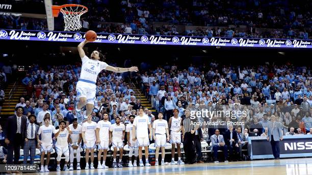 Cole Anthony of the University of North Carolina dunks the ball during a game between NC State and North Carolina at Dean E. Smith Center on February...