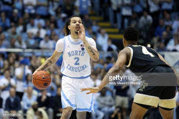Cole Anthony of the University of North Carolina runs the offense during a game between Wake Forest and North Carolina at Dean E. Smith Center on...