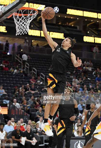 Cole Anthony shoots a layup during the Jordan Brand Classic boys high school allstar basketball game at TMobile Arena on April 20 2019 in Las Vegas...