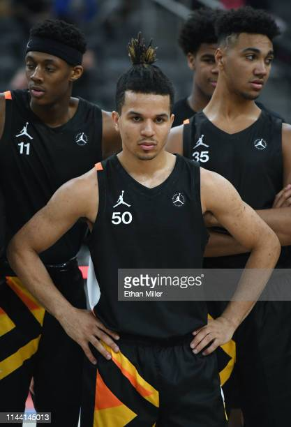 Cole Anthony stands on the court after playing in the Jordan Brand Classic boys high school allstar basketball game at TMobile Arena on April 20 2019...