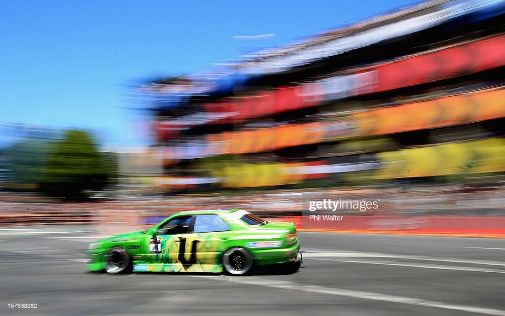 Cole Armstrong of New Zealand competes in the Red Bull Drift Shifters along Victoria Street on December 8, 2012 in Auckland, New Zealand.