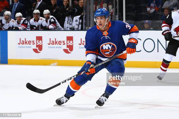 Cole Bardreau of the New York Islanders skates against the Arizona Coyotes at NYCB Live's Nassau Coliseum on October 24 2019 in Uniondale New York...