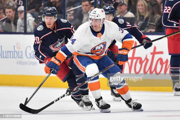 Cole Bardreau of the New York Islanders skates against the Columbus Blue Jackets on October 19 2019 at Nationwide Arena in Columbus Ohio