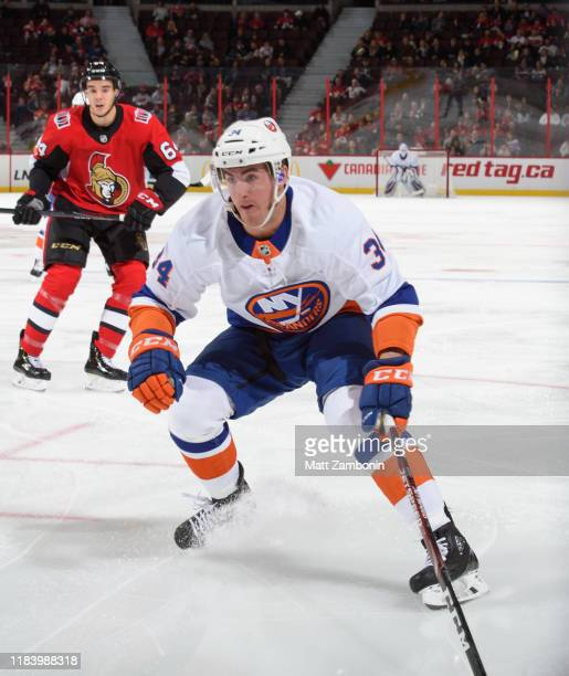 Cole Bardreau of the New York Islanders skates against the Ottawa Senators at Canadian Tire Centre on October 25 2019 in Ottawa Ontario Canada