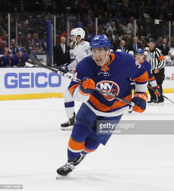 Cole Bardreau of the New York Islanders skates against the Tampa Bay Lightning at NYCB Live's Nassau Coliseum on November 01 2019 in Uniondale New...