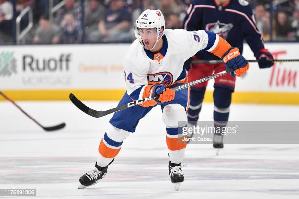 Cole Bardreau of the New York Islanders skates up the ice in his NHL debut during a game against the Columbus Blue Jackets on October 19 2019 at...