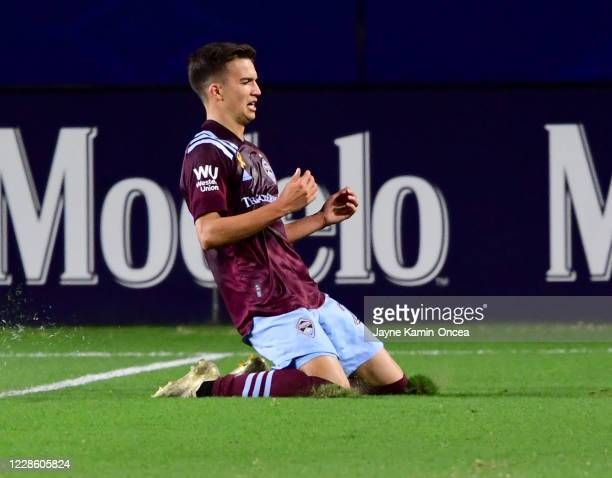 Cole Bassett of Colorado Rapids celebrates after scoring a goal in the first half of the game at Dignity Health Sports Park on September 19 2020 in...