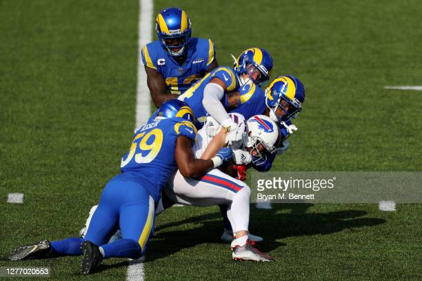 Cole Beasley of the Buffalo Bills is tackled by the Los Angeles Rams defense during the fourth quarter at Bills Stadium on September 27, 2020 in...