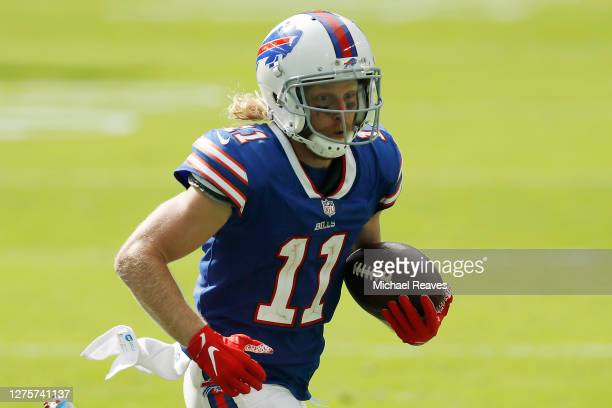 Cole Beasley of the Buffalo Bills runs with the ball after a reception against the Miami Dolphins during the fourth quarter at Hard Rock Stadium on...