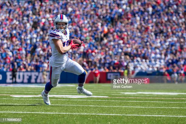 Cole Beasley of the Buffalo Bills runs with the ball during the first half against the Cincinnati Bengals at New Era Field on September 22 2019 in...