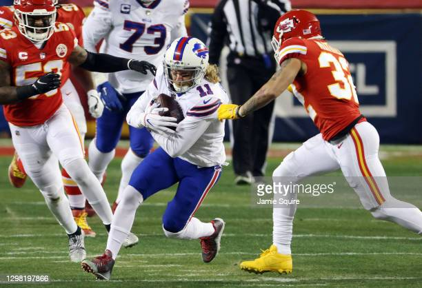 Cole Beasley of the Buffalo Bills runs with the ball in the first quarter against the Kansas City Chiefs during the AFC Championship game at...