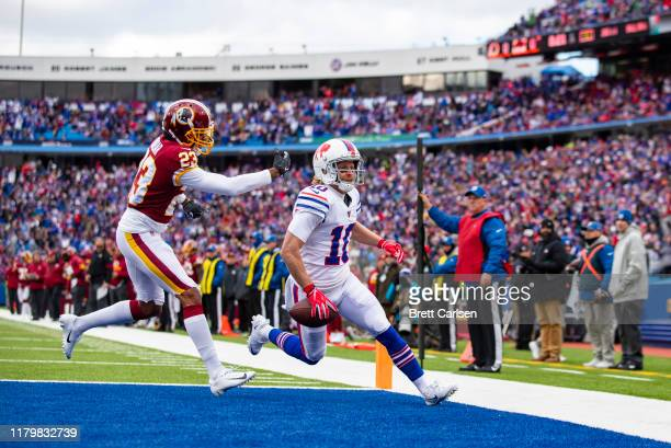 Cole Beasley of the Buffalo Bills scores a touchdown on a pass reception during the first quarter against the Washington Redskins at New Era Field on...