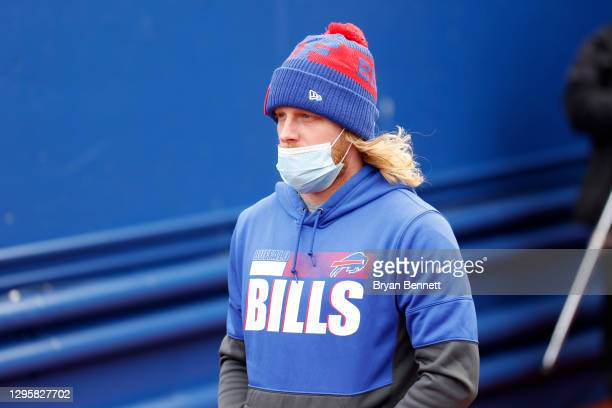 Cole Beasley of the Buffalo Bills walks to the field prior to an AFC Wild Card playoff game against the Indianapolis Colts at Bills Stadium on...
