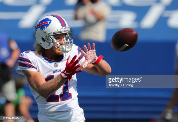Cole Beasley of the Buffalo Bills warms up before a game against the Los Angeles Rams at Bills Stadium on September 27, 2020 in Orchard Park, New...