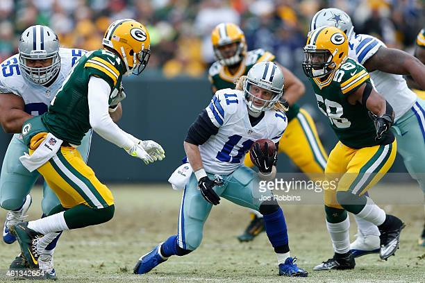 Cole Beasley of the Dallas Cowboys carries the football against Sam Barrington of the Green Bay Packers during the 2015 NFC Divisional Playoff game...