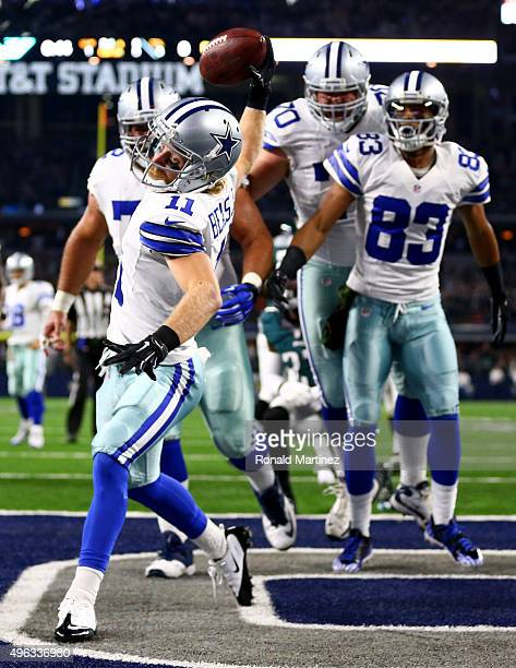 Cole Beasley of the Dallas Cowboys celebrates after scoring a touchdown against the Philadelphia Eagles in the first quarter at ATT Stadium on...