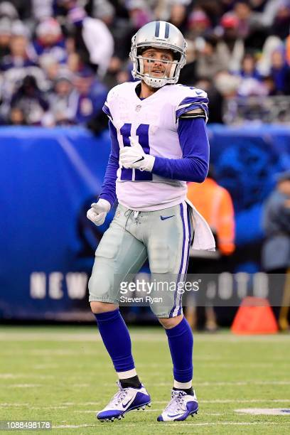 Cole Beasley of the Dallas Cowboys looks on against the New York Giants at MetLife Stadium on December 30 2018 in East Rutherford New Jersey