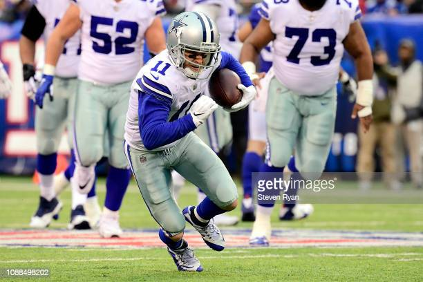 Cole Beasley of the Dallas Cowboys makes a catch against the New York Giants at MetLife Stadium on December 30 2018 in East Rutherford New Jersey