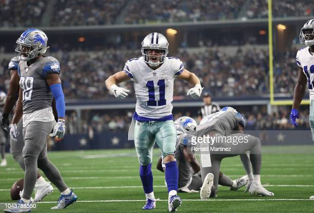 Cole Beasley of the Dallas Cowboys reacts after a pass reception in the fourth quarter against the Detroit Lions at ATT Stadium on September 30 2018...
