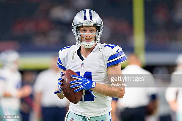 Cole Beasley of the Dallas Cowboys warming up before a preseason game against the Houston Texans at ATT Stadium on September 1 2016 in Arlington...