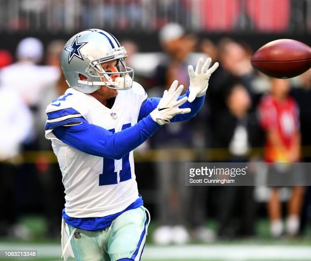 Cole Beasley of the Dallas Cowboys warms up before the game against the Atlanta Falcons at MercedesBenz Stadium on November 18 2018 in Atlanta Georgia