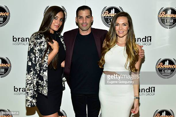 Cole Bernard Tina Dominguez and Sammi Giancola attend the Bounce Sporting Club Celebrates Its 5th Anniversary at Bounce Sporting Club on September 20...