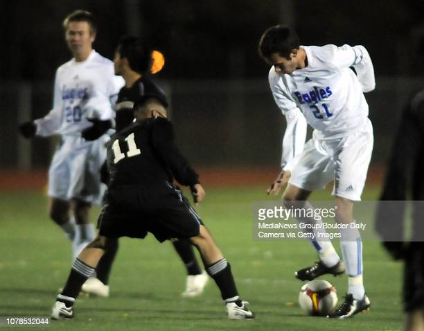Cole Chapleski right Broomfield dribble the ball away from Cristian Munoz Skyveiw during the first round of state playoffs at Elizabeth Kennedy...
