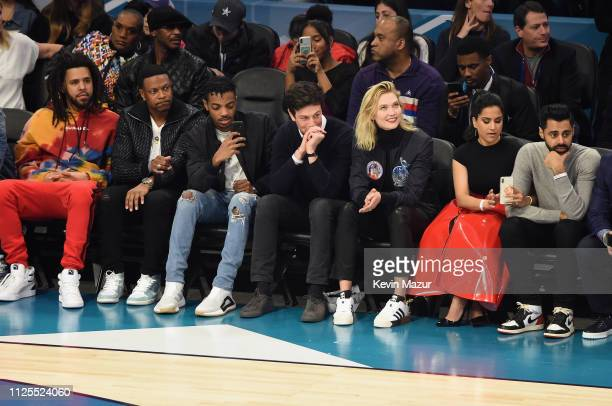 Cole, Chris Tucker, Destin Christopher Tucker, Joshua Kushner, Karlie Kloss, Beena Patel, and Hasan Minhaj attend the 68th NBA All-Star Game at...