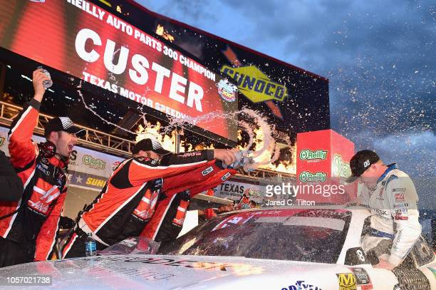 Cole Custer driver of the Autodesk Ford celebrates in Victory Lane after winning the NASCAR Xfinity Series O'Reilly Auto Parts 300 at Texas Motor...