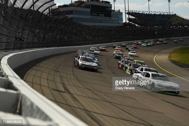 Cole Custer driver of the FIELDS Ford leads a pack of cars during the NASCAR Xfinity Series CircuitCitycom 250 Presented by Tamron at Iowa Speedway...