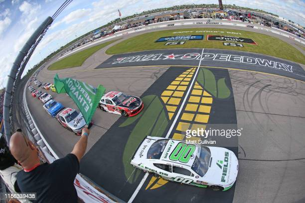 Cole Custer driver of the FIELDS Ford takes the green flag to start the NASCAR Xfinity Series CircuitCitycom 250 Presented by Tamron at Iowa Speedway...