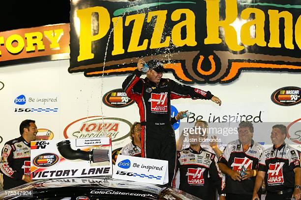 Cole Custer driver of the Haas Automation Chevrolet celebrates after winning the NASCAR KN Series Pork Be Inspired 150 at Iowa Speedway on August 2...