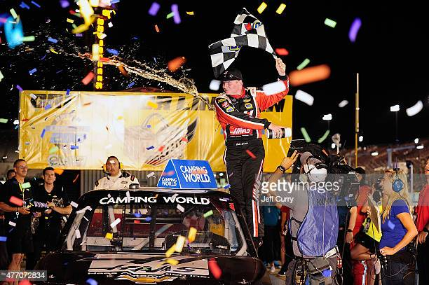 Cole Custer driver of the Haas Automation Chevrolet celebrates after winning the NASCAR Camping World Truck Series Drivin' for Linemen 200 at Gateway...