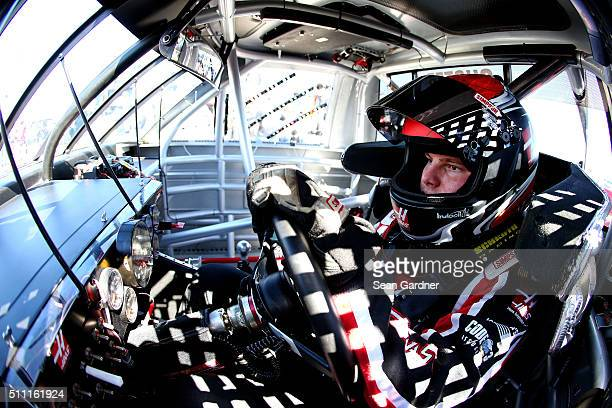 Cole Custer driver of the Haas Automation Chevrolet sits in his truck during practice for the NASCAR Camping World Truck Series NextEra Energy...