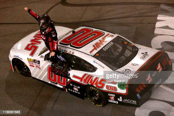 Cole Custer driver of the Haas Automation Ford celebrates after winning the NASCAR Xfinity Series ToyotaCare 250 at Richmond Raceway on April 12 2019...