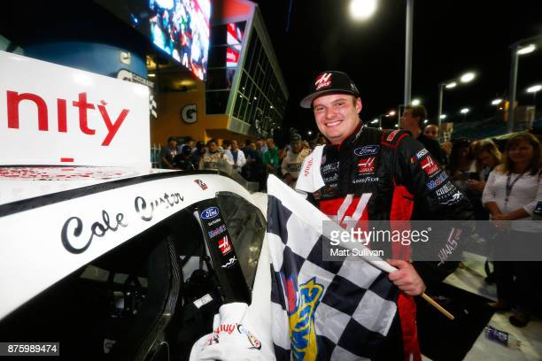 Cole Custer driver of the Haas Automation Ford celebrates in Victory Lane after winning the NASCAR XFINITY Series Championship Ford EcoBoost 300 at...