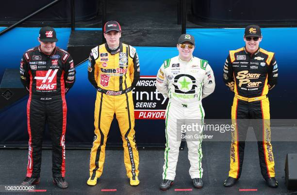 Cole Custer driver of the Haas Automation Ford Christopher Bell driver of the GameStop Transformers Toyota Tyler Reddick driver of the BurgerFi...