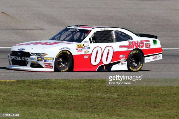 Cole Custer driver of the Haas Automation Ford during practice for the EcoBoost 300 at HomesteadMiami Speedway on November 18 2017 in Homestead...