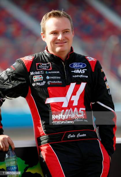 Cole Custer driver of the Haas Automation Ford looks during qualifying for the NASCAR Xfinity Series Desert Diamond Casino West Valley 200 at ISM...